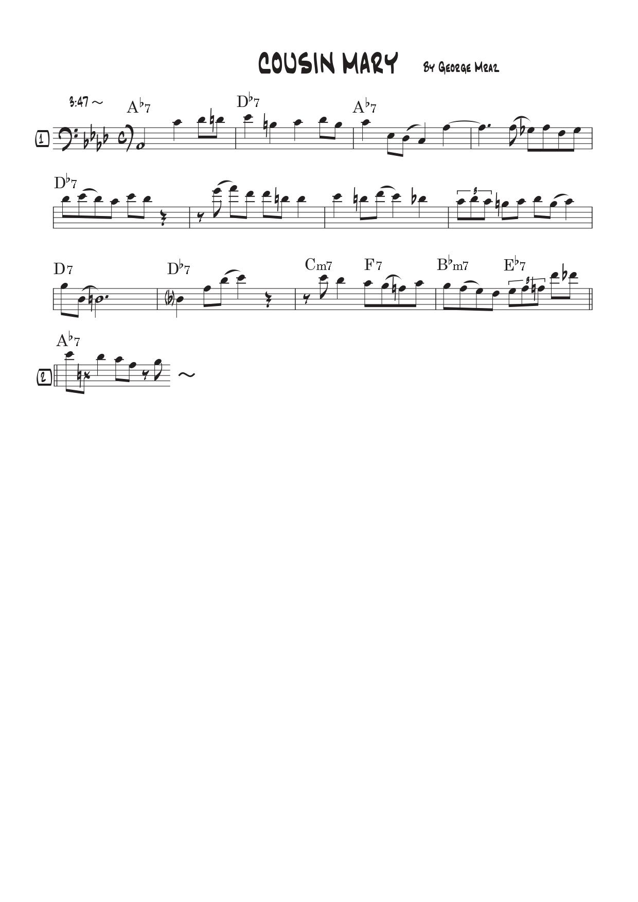 「Cousin Mary」こんな曲をコピーしてきたby ジョージ・ムラーツ